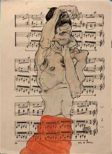 Egon Schiele(After)Standing Male Nude with Red Loinclot