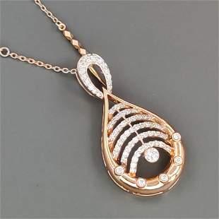 18 kt.Pink gold Necklace pendant 0.56 ct Diamond