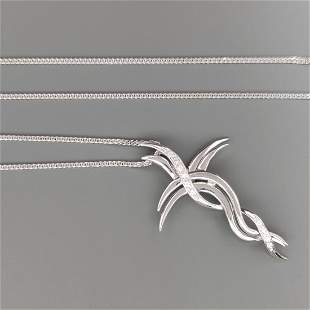 18 kt.White gold - Necklace with pendant Diamond
