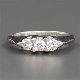 18 kt.White gold - Ring - 0.40 ct Diamond