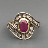 18 kt.Yellow gold and silver - Ring - 0.39 ct Antique