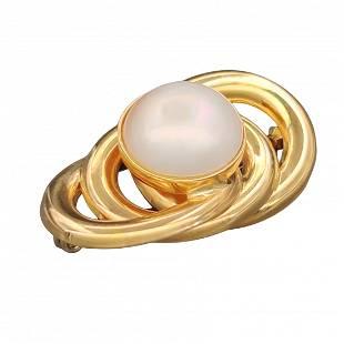 18 kt.Yellow gold - Brooch - Mabè pearl 11.00 mm