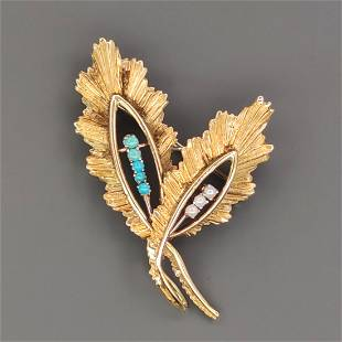 18 kt.Yellow gold - Brooch - Beads - turquoise