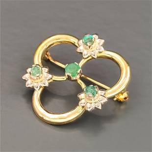 18 kt.Yellow gold - Brooch - 0.25 ct Emerald