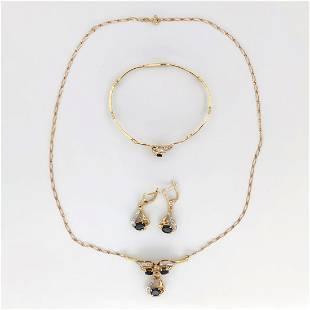 18 kt.White / Yellow gold Bracelet, Necklace, Earrings