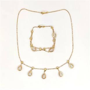 18 kt.White gold, Yellow gold - Bracelet, Necklace, Set