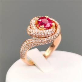 Ring 18 carat rose gold with 1.98 ct Diamonds