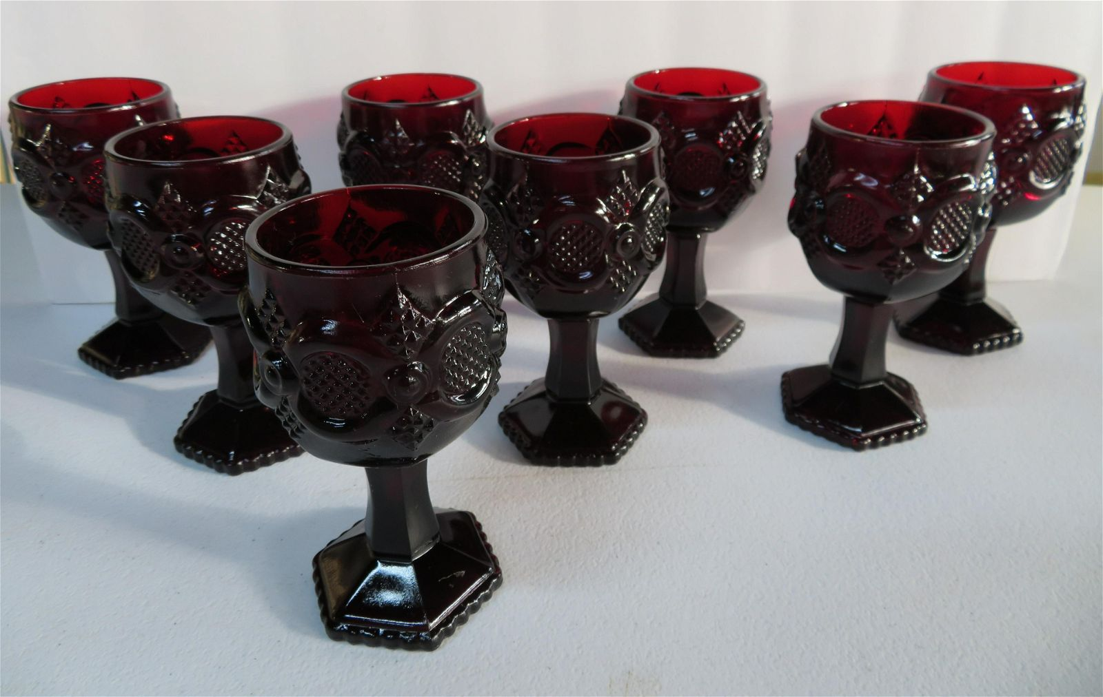 Lot of 8 Avon Cape Cod Ruby Red Glass Wine or Water