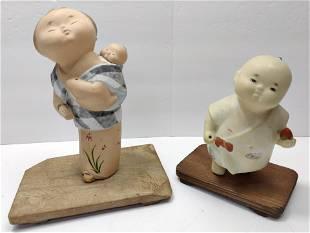 Hakata Clay Japanese Pottery Dolls