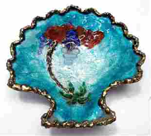 Antique Limoges Enamel on Silver shell cup