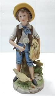 Bisque Biscuit Porcelain Farm Boy figurine