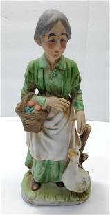 Bisque Biscuit Porcelain Lady & Goose figurine