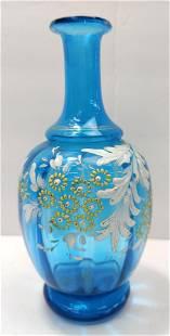 Glass Enamel Handpainted handblown blue vase