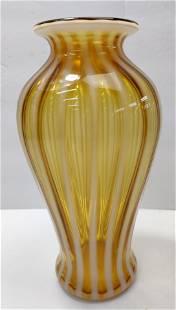 Yellow White Glass vase MCM Deco