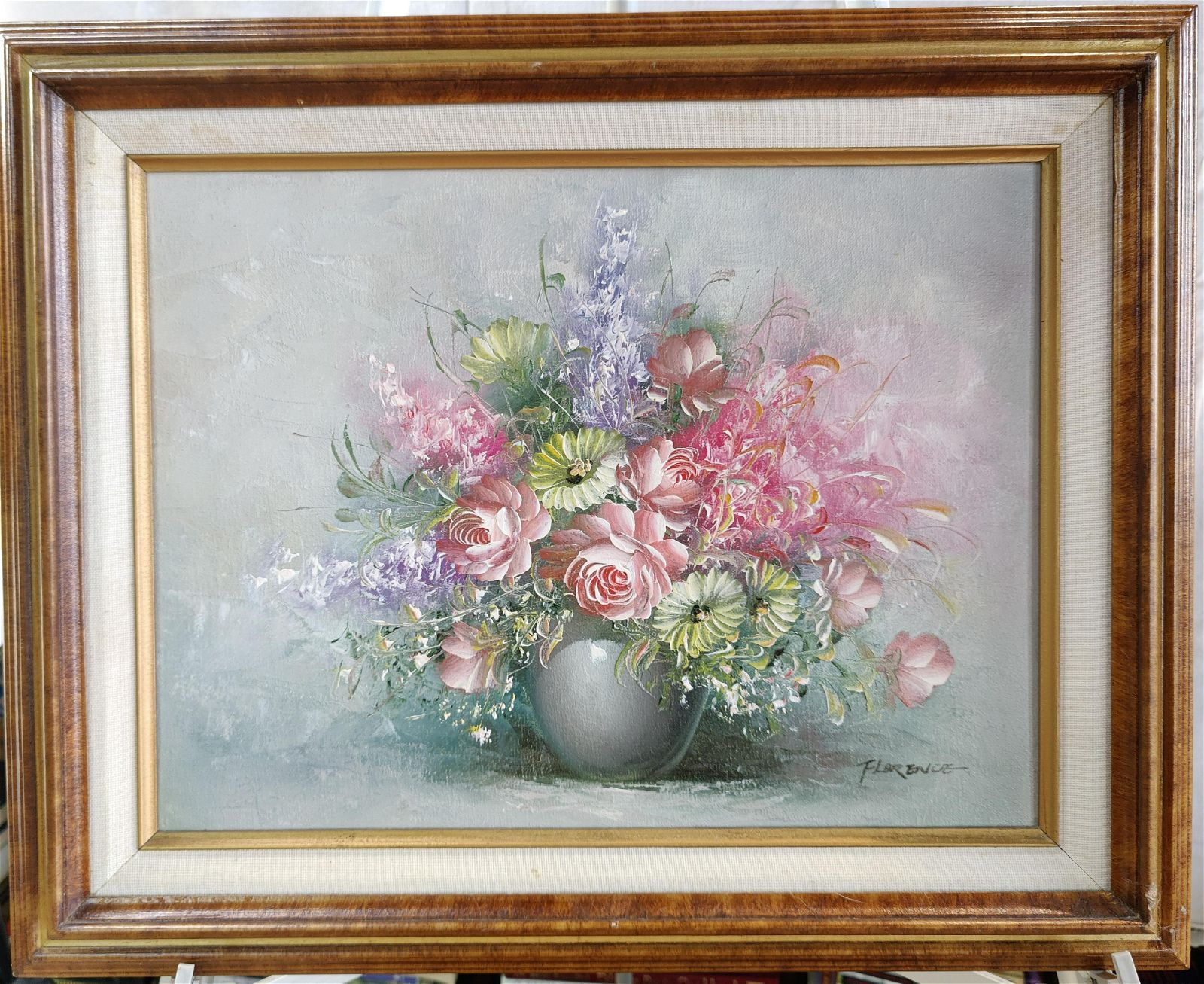Flowers Bouquet Still Life oil on canvas signed