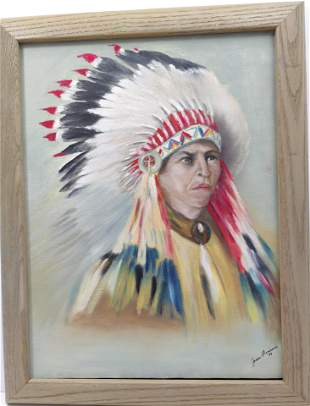 Indian Chief Portrait oil on canvas by Joan Bersani
