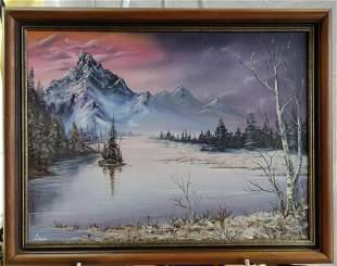 Mountain River Landscape oil on canvas signed Lhopi?