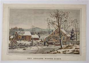 Currier & Ives, New England Winter Scene print