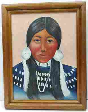 Modern oil on canvas Indian Woman signed Joan