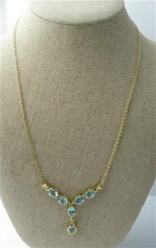 Design Fashion Necklace 7.22CT Blue Topaz & White Topaz