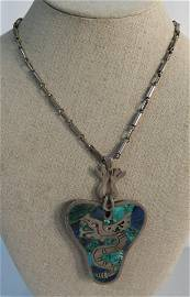 Mexico Art Necklace 925 sterling Silver & blue stone