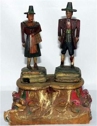 Antique German couple Carved Wood statue folk Art bride