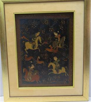 """Persian hunting scene painting on board, 8 1/2"""" X 11"""","""
