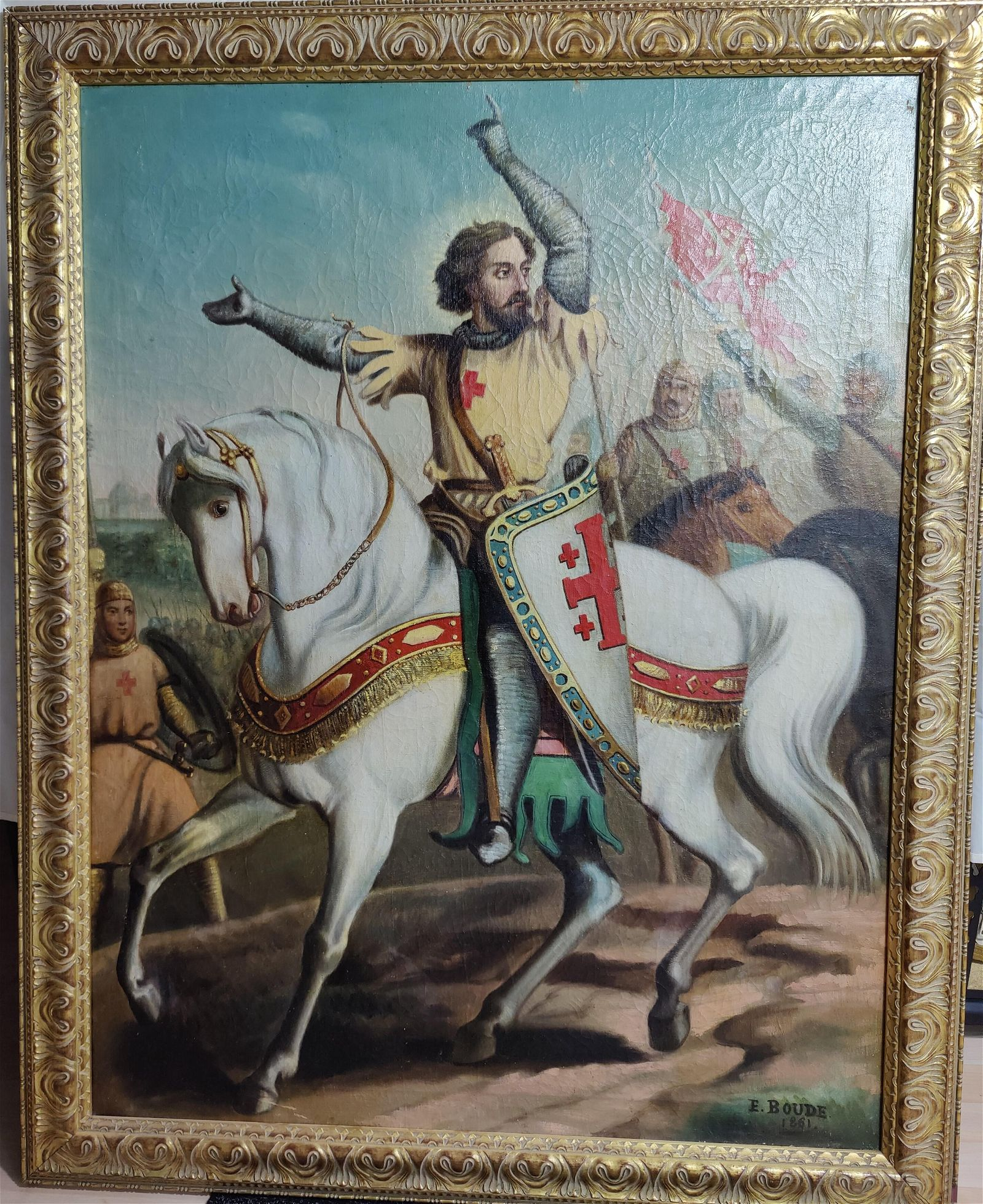 19th C French School Knight Templar portrait oil Boude