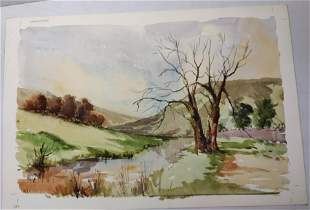 Wharfedale watercolor on vellum paper in manner of