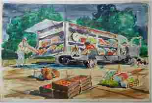 French Watercolor ca. 1950 The Farmer Market's Truck