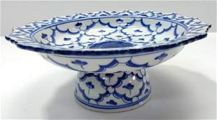 Chinese Blue White Porcelain Pedestal Bowl Footed Dish