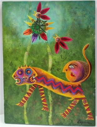 Laguirre Pop Surrealist Oil On Canvas Painting.