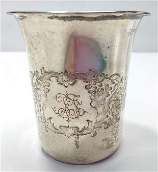 Antique German sterling silver 800 cup julep goblet,