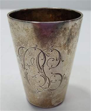 Antique German sterling silver 800 cup julep goblet, 1