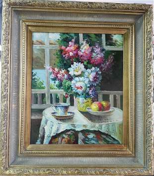 """Oil on canvas painting, Flower Bouquet Still Life, 19"""""""