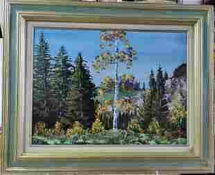 Oil on board wood framed Mountain Landscape decor