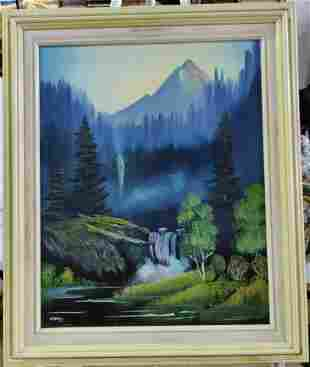 Mountain Landscape oil on canvas painting, signed lower