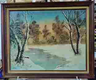 Winter Landscape Oil on canvas, by American Artist