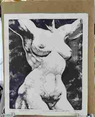 Original Mixed Art Pencil Ink Drawing on vellum paper,