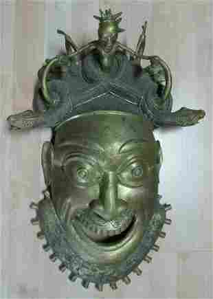 Important Antique African Bronze Mask with Snake &