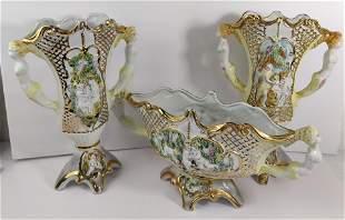 Capodimonte 1950 Italy Jardiniere & Vases