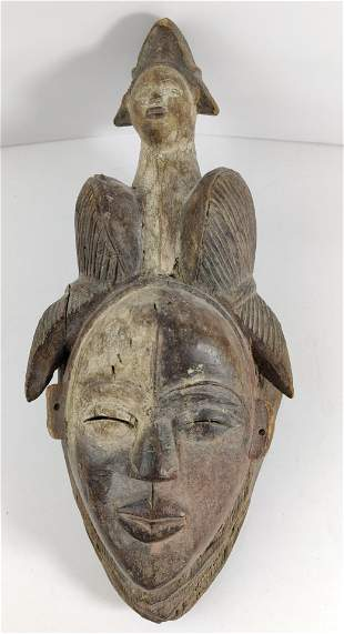 African Carved wood Painted Baoule Tribal mask
