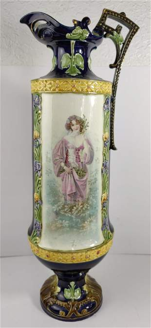 Important Austrian Majolica Ewer colorfull Art Nouveau