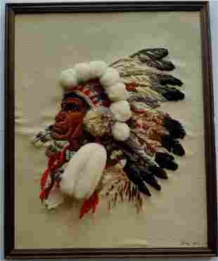 Indian Chief Embroidery portrait on canvas 1989 signed