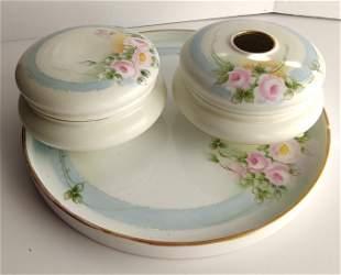 German & French Limoges & Rudolstadt porcelain vanity