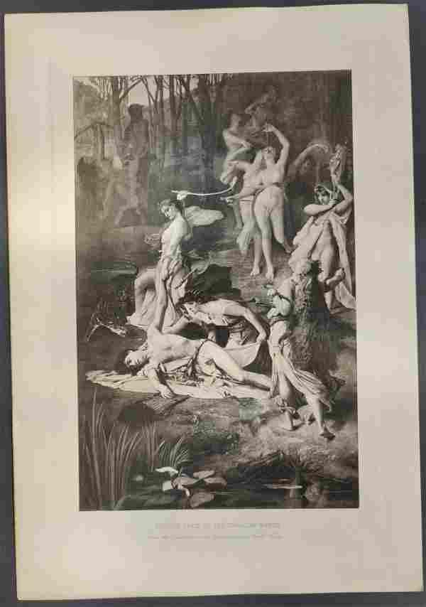 Mythology ORPHEUS SLAIN BY THE THRACIAN WOMEN etching