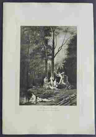 Mythology The Dryad's Concert etching after Paul