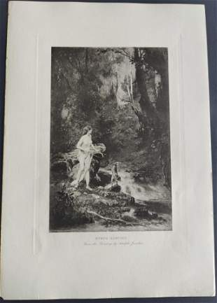 Mythology Nymph Hunting etching after Adolphe Jourdan