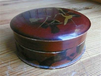 ROUND ASIAN CHINESE LACQUERED JEWELRY TRINKET BOX LIGHT