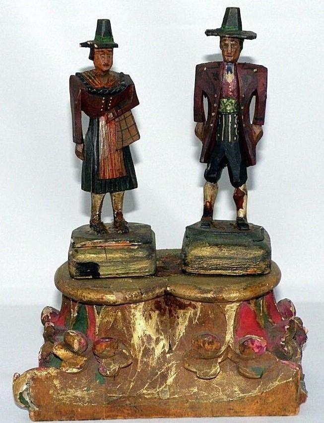 German couple Carved Wood statue folk Art bride pilgrim